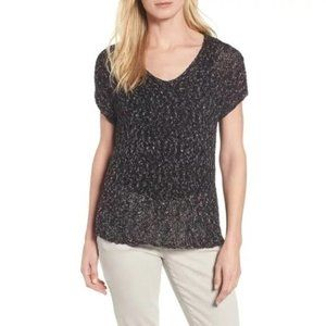 Eileen Fisher Cap-Sleeve V-Neck Mesh Knitted Top